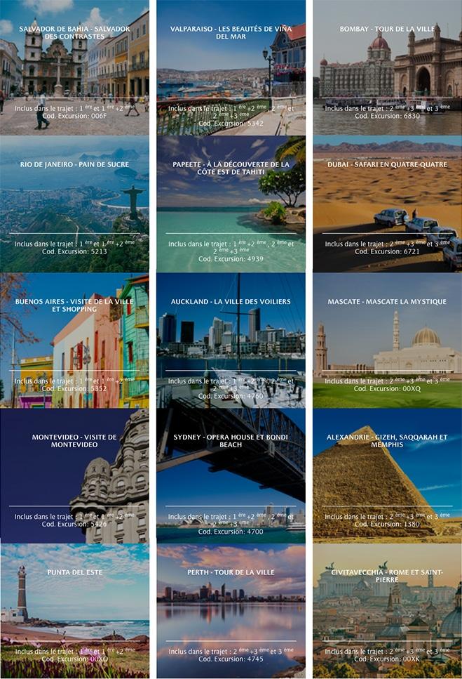 Excursions croisière tour du monde