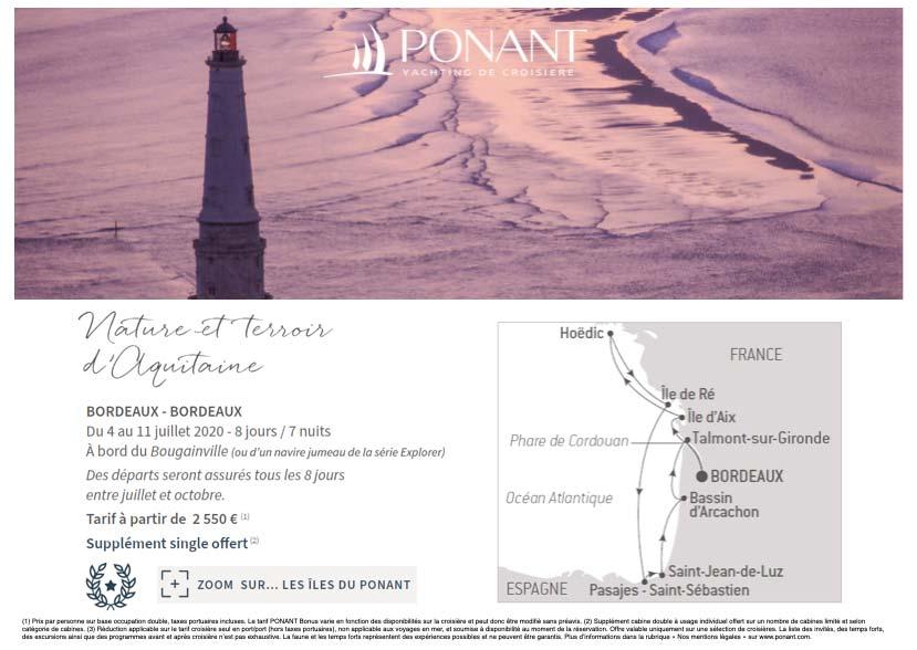 Itinéraire croisière Ponant départ Bordeaux