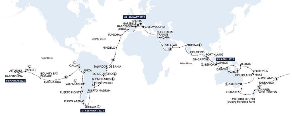 tour du monde MSC 2022 itinéraire