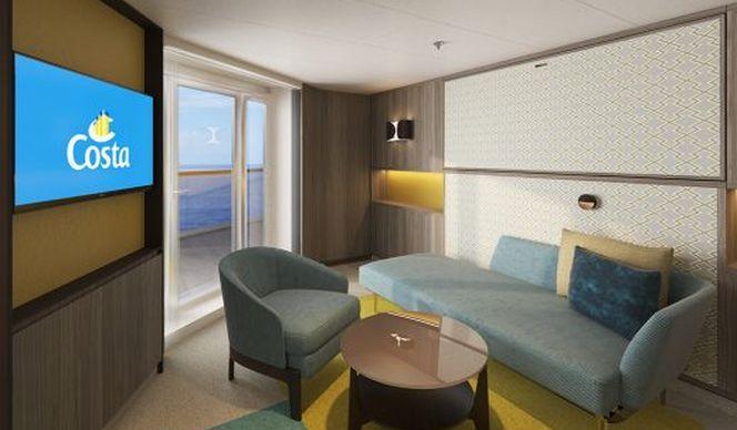 Intérieur d'une cabine vue mer avec balcon à bord du Costa Smeralda
