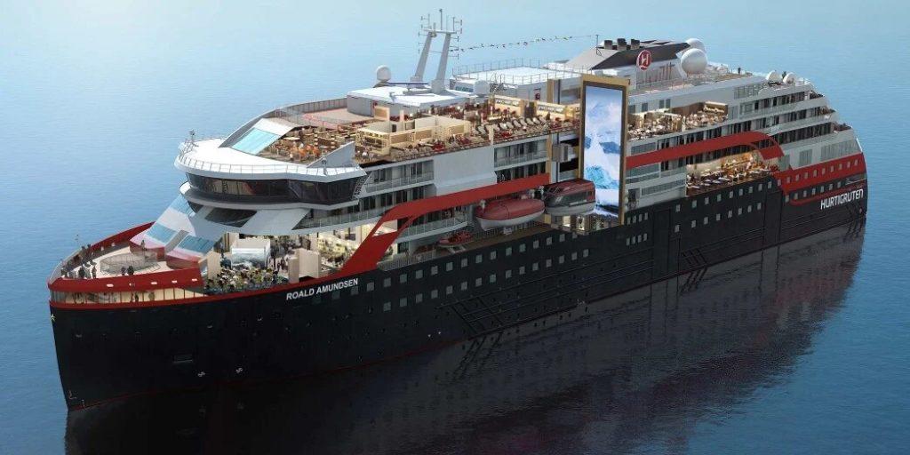 un des nouveaux navires hybrides hurtigruten : le ms roald amundsen